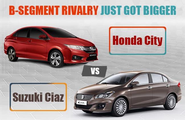 Suzuki Ciaz 2016 vs 2016 Honda City – Rivalry Between B-Segment Sedans