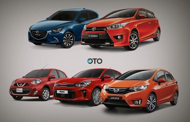 Komparasi Fitur Kia Rio vs Honda Jazz vs Toyota Yaris vs Mazda2 vs Nissan March