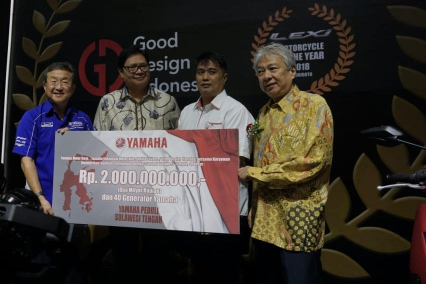 IMOS 2018: Yamaha Peduli Sulawesi Tengah, Donasi Rp 2 Miliar dan 40 Generator