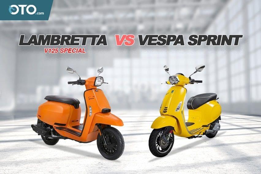 Pertarungan Dua Skuter Legendaris, Lambretta V125 Special VS Vespa Sprint