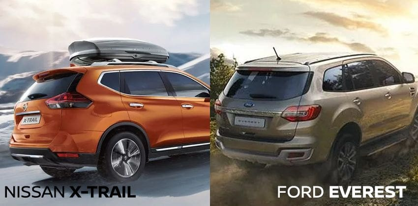 Nissan X-Trail vs Ford Everest rear