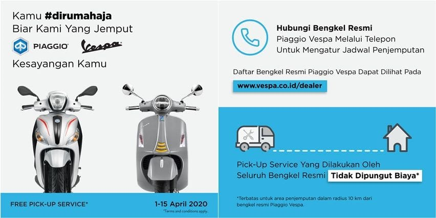 Piaggio dan Vespa gratis antar jemput servis