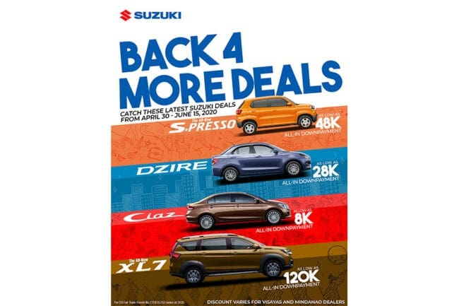 Suzuki PH reveals Back4More deals as customers adjust to new normal