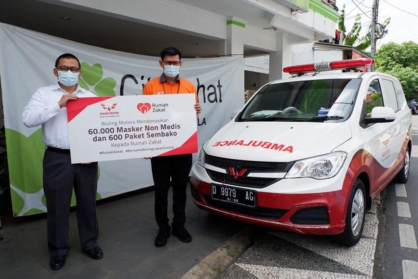Sumbangan sembako dan masker dari Wuling Motors