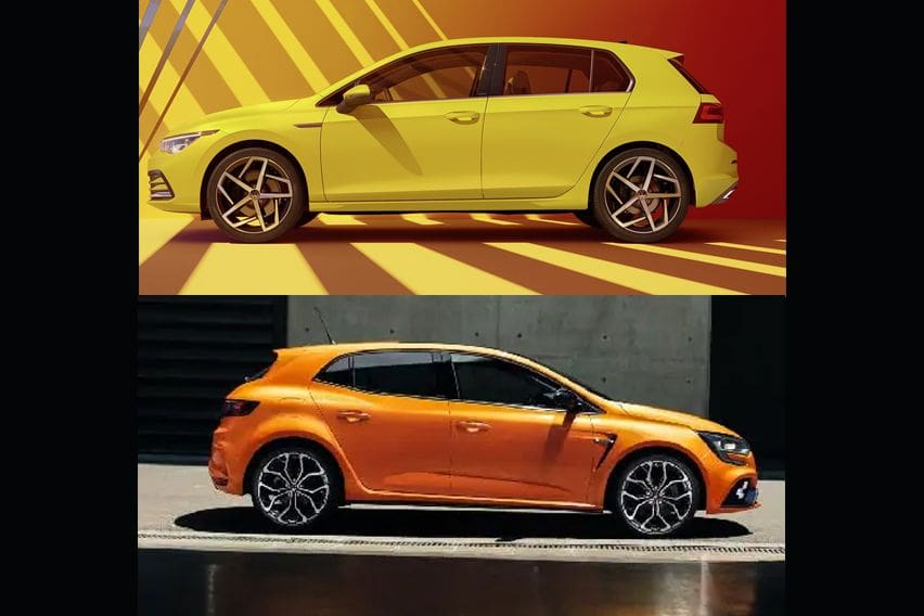 Volkswagen Golf 2.0L TSI R vs Renault Megane R.S. - Dimensions