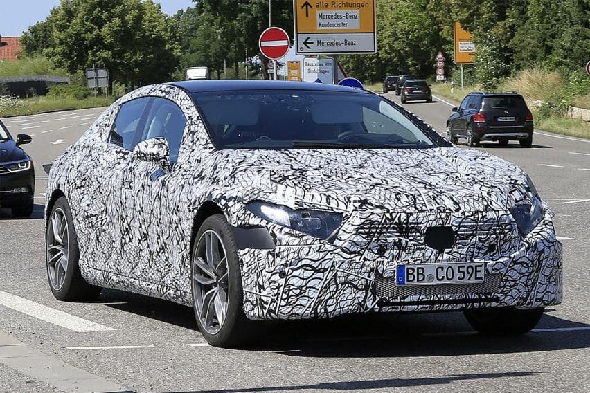 2020 Mercedes EQS spotted wearing camouflage