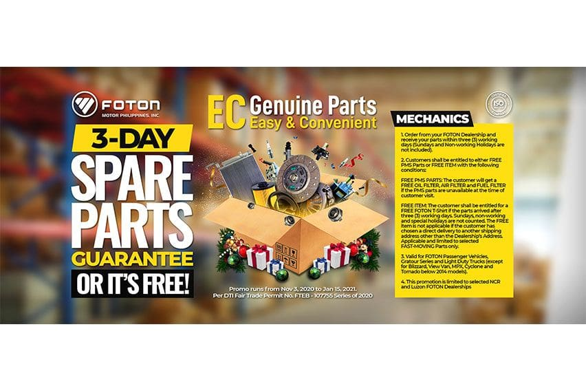 Foton PH promo guarantees spare parts to be available in 3 days or less