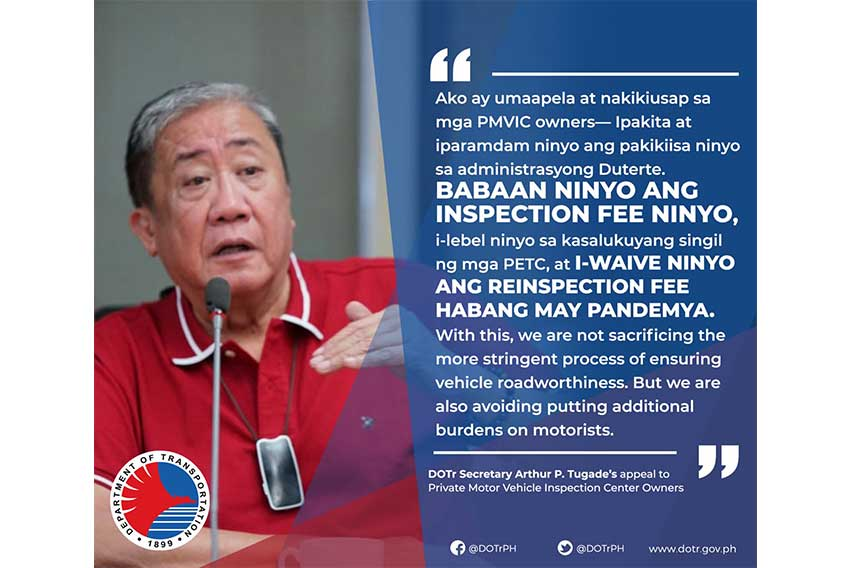 DOTr Sec. Tugade requests PMVICs to adjust fees