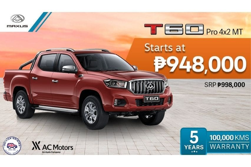 Maxus PH offers P50K discount on T60 pickup