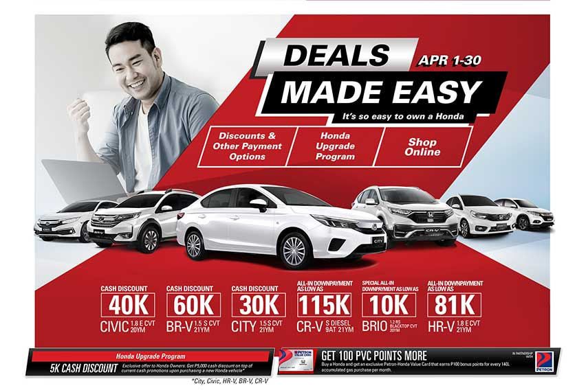 Discounts and low down payment offerings in Apr. promo of Honda PH